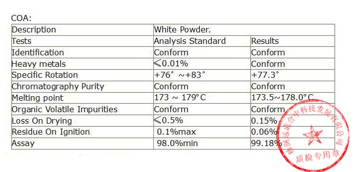 coa of the Boldenone cypionate powder